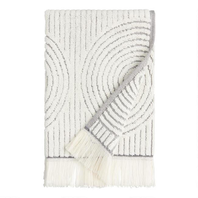 Gray and White Sculpted Spiral Morgan Hand Towel