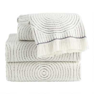 Gray and White Sculpted Spiral Morgan Towel Collection