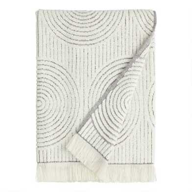 Gray and White Sculpted Spiral Morgan Bath Towel