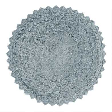 Round Chambray Cotton Bath Mat