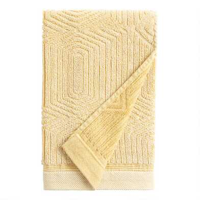 Mustard Sunfaded Sculpted Diamond Carson Hand Towel
