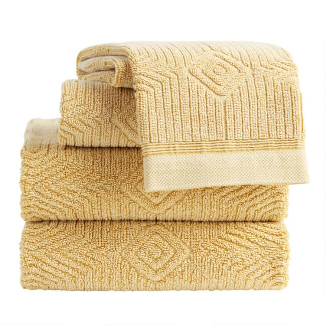 Mustard Sunfaded Sculpted Diamond Carson Towel Collection