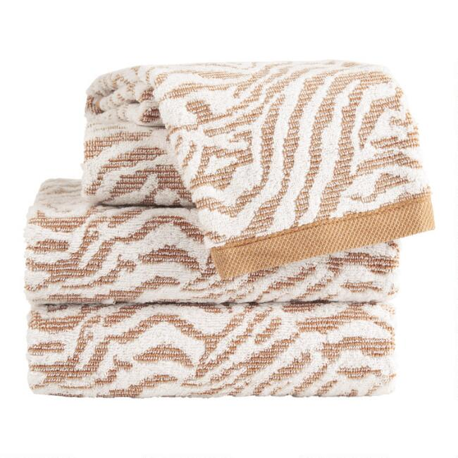 Hazel Brown Sculpted Tiger Stripe Azizi Towel Collection