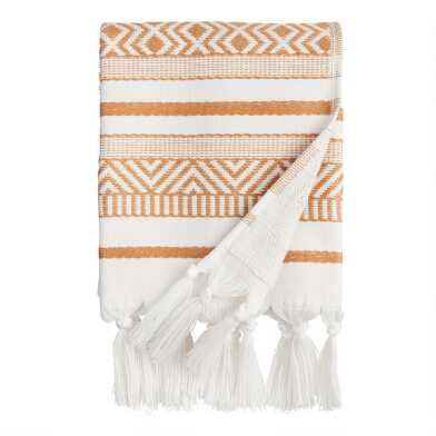 Hazel Brown and Ivory Woven Geo Indio Hand Towel