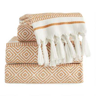 Hazel Brown and Ivory Woven Geo Indio Towel Collection