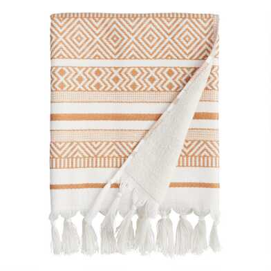 Hazel Brown and Ivory Woven Geo Indio Bath Towel
