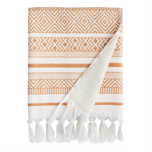 Shop Hazel Brown and Ivory Woven Geo Indio Bath Towel from World Market on Openhaus