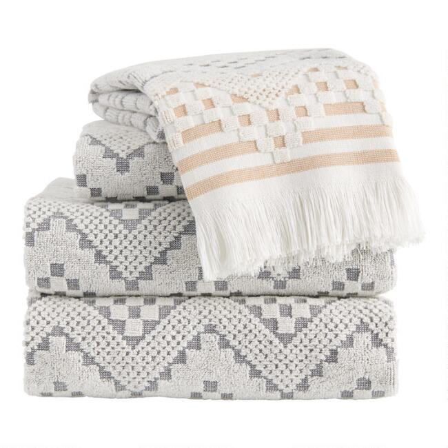 Gray and Hazel Brown Sculpted Geo Tulum Towel Collection