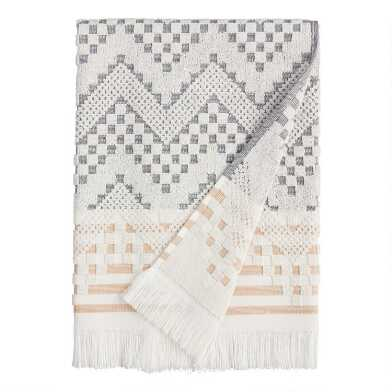 Gray and Hazel Brown Sculpted Geo Tulum Bath Towel