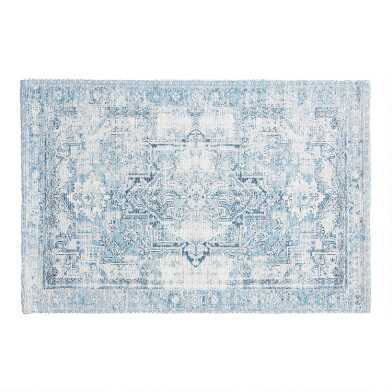 Blue Persian Rug Print Bath Mat