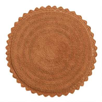 Round Hazel Brown Cotton Bath Mat