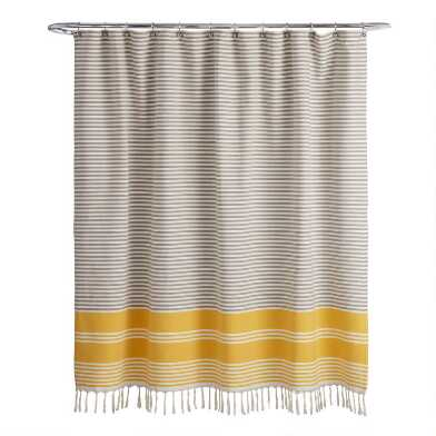 Gray and Yellow Woven Stripe Blaine Shower Curtain