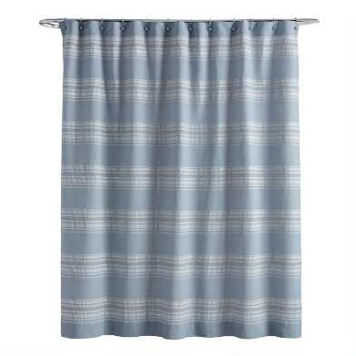 Blue and White Woven Stripe Ethan Shower Curtain