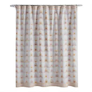 White and Yellow Sunrise Cassie Shower Curtain