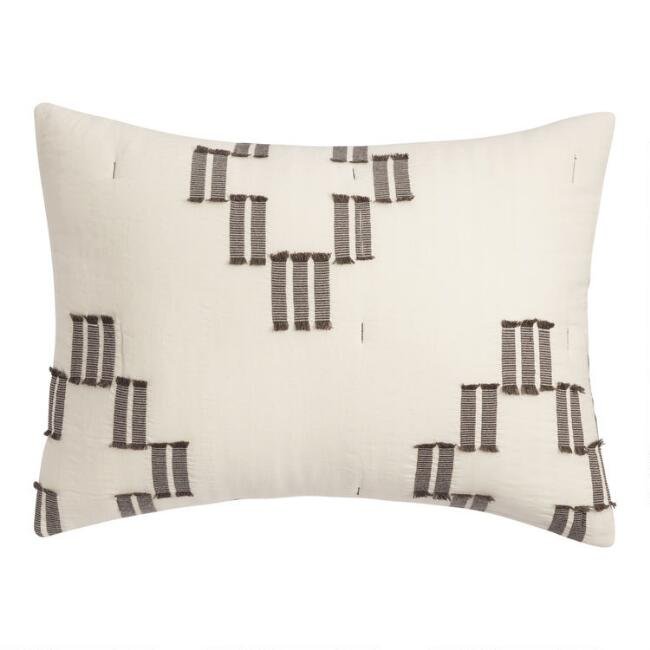 Ivory and Black Woven Cross Rylan Pillow Shams Set of 2