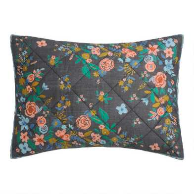 Washed Black Floral Bouquet Jemma Pillow Shams Set of 2