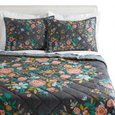 Washed Black Floral Bouquet Jemma Quilt
