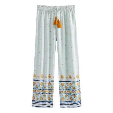 Light Blue Floral Cropped Midori Pajama Pants