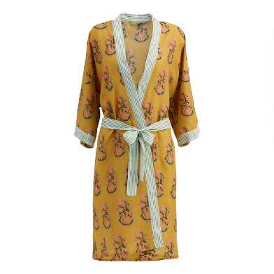 Mustard Yellow Bhuti Print Sheena Robe