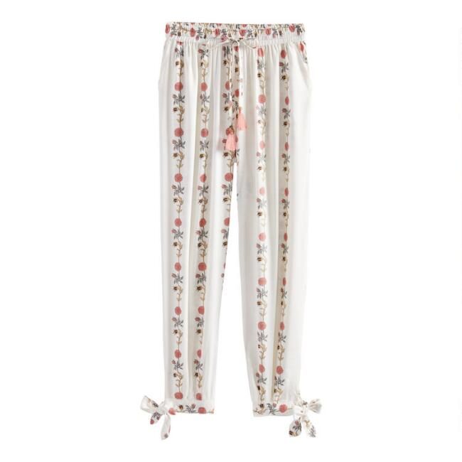 White Floral Stripe Cropped Gwenevere Pajama Pants