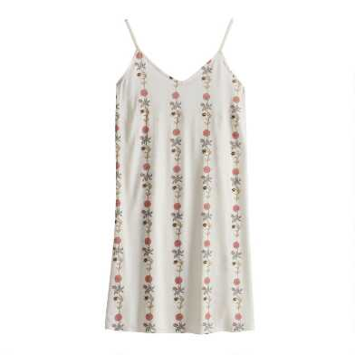 White Floral Stripe Gwenevere Chemise