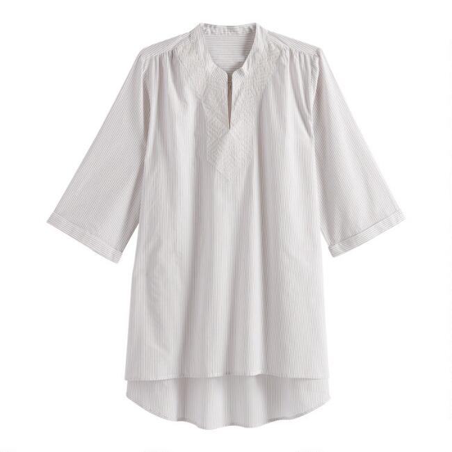 Tan And White Woven Stripe Nora Tunic With Pockets