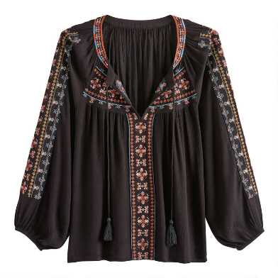 Black Multicolor Geo Embroidered Adriana Top