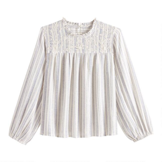 Blue And White Striped Embroidered Ella Top