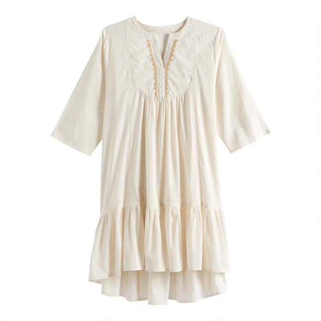 Ivory Embroidered Dobby Dress