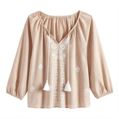 Oatmeal and Ivory Floral Embroidered Bree Top