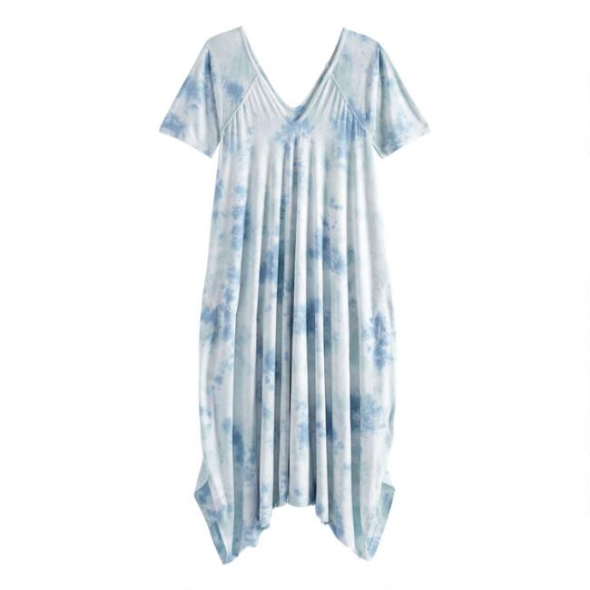 Blue And Aqua Tie Dye Lounge Jumpsuit With Pockets
