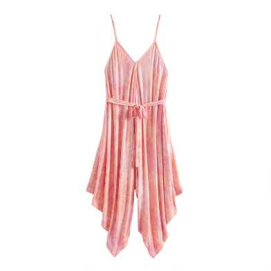 Pink and Coral Tie Dye Lounge Jumpsuit