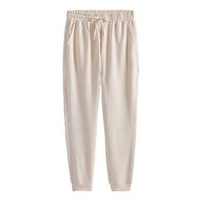 Ivory Fleece Lounge Joggers With Pockets