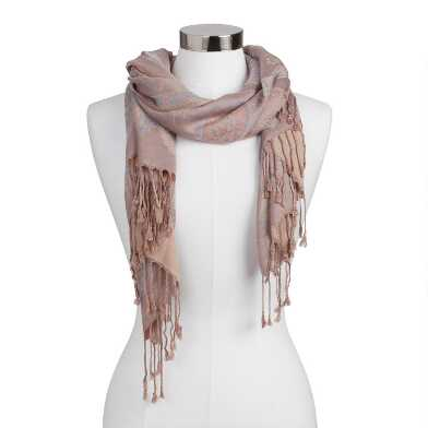 Lavender, Peach And Sage Paisley Scarf