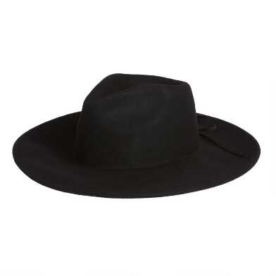 Black Wool Rancher Hat With Corset Tie