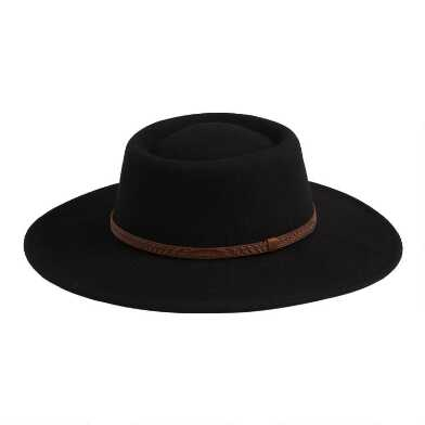 Black Wool Flat Top Jackie Hat With Bow Trim