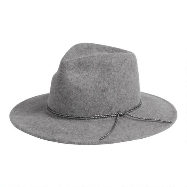 Heather Gray Rancher Hat With Braided Trim