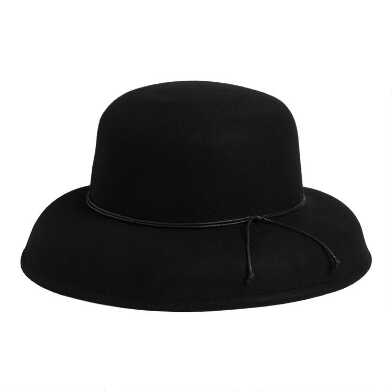 Black Wool Cloche Hat with Black Cord