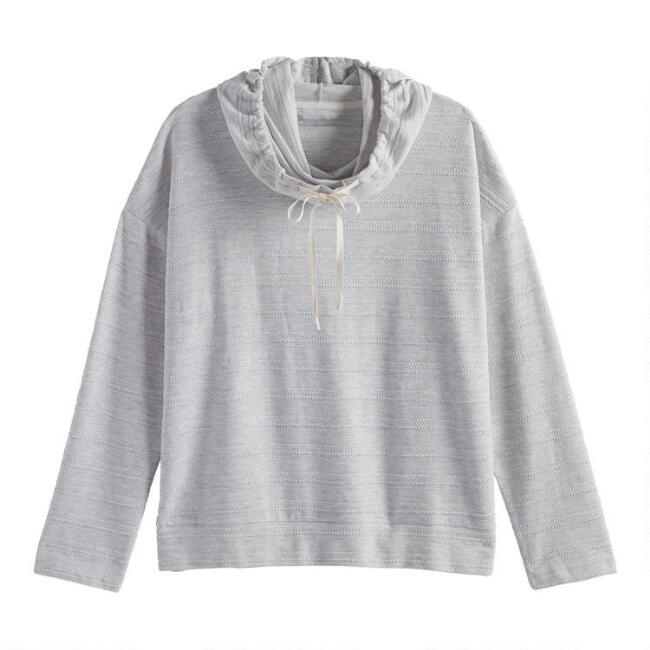 Gray Cowl Neck Lounge Top
