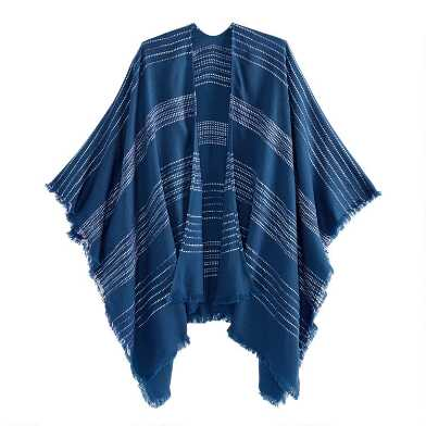 Blue And White Striped Textured Wrap
