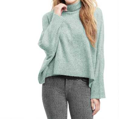 Sage Green Ribbed Knit Funnel Neck Sweater