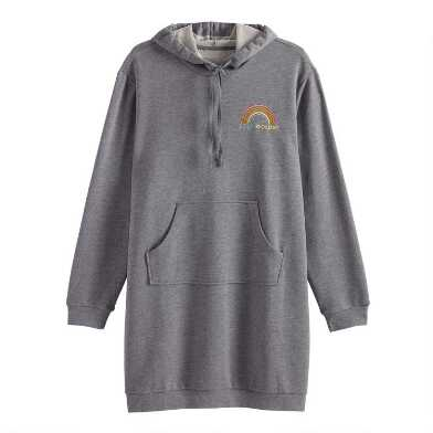 Gray Stay Golden Fleece Hoodie Tunic With Pocket