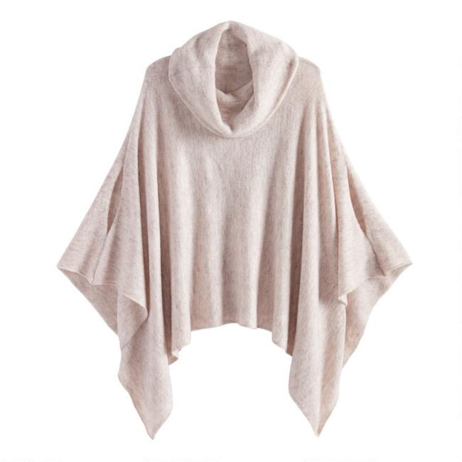 Heathered Tan Cowl Neck Poncho Sweater