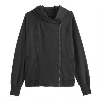 Black Asymmetrical Zip Hoodie Jacket With Pockets