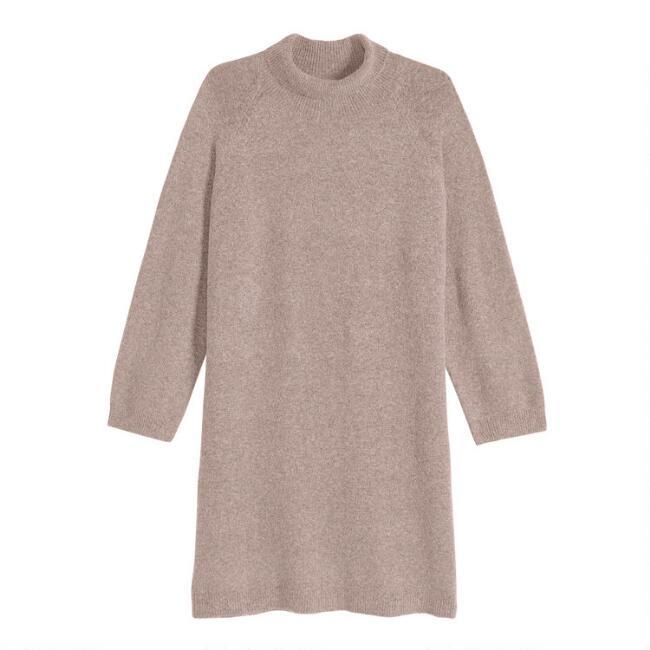 Heathered Tan Ribbed Knit Funnel Neck Sweater Dress