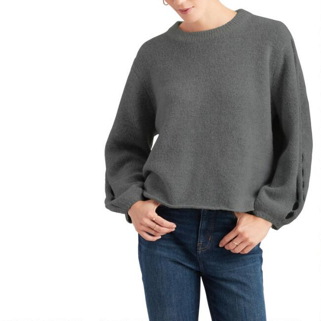 Dark Gray Cutout Sleeve Sweater