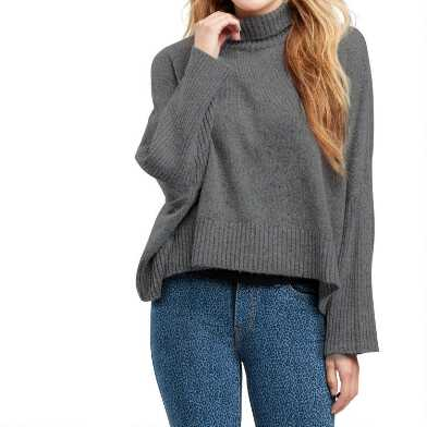 Heather Gray Ribbed Knit Funnel Neck Sweater