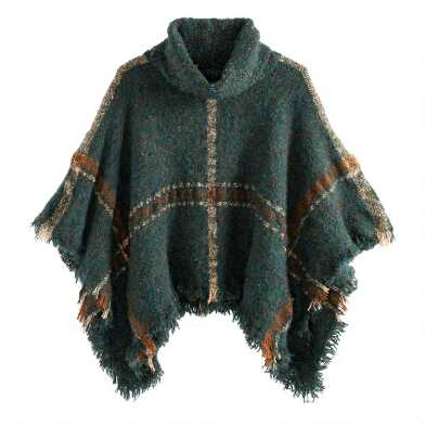 Olive, Tan and Rust Plaid Turtleneck Boucle Poncho