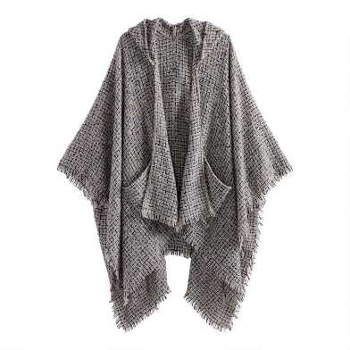 White, Gray And Black Marled Boucle Hooded Wrap