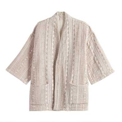 Oatmeal And Ivory Dash Reversible Jacket With Pockets